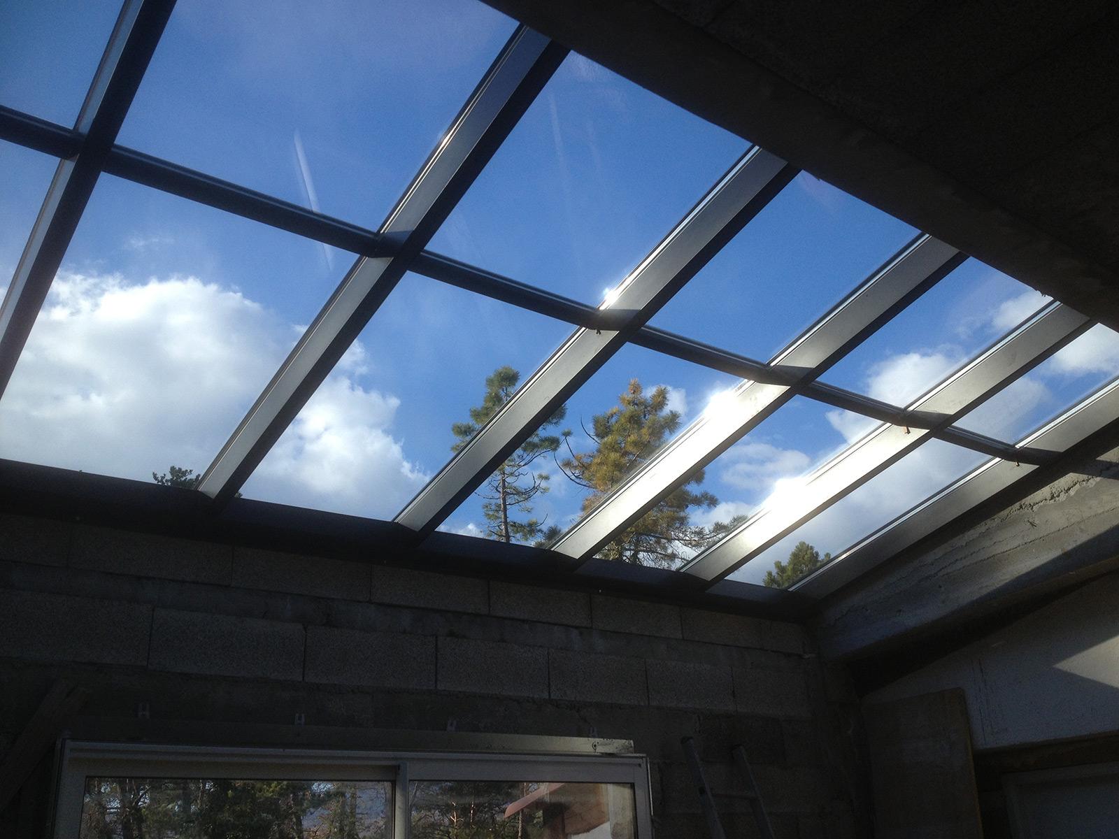 Photo d'une réalisation d'une verrière, toiture vitrée